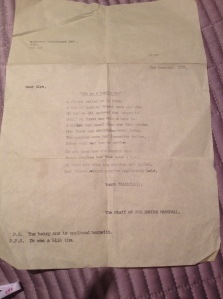 The original typewritten letter